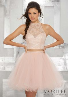 697893add21 Blush Pink Two Piece Party Dress with High Halter Lace Bodice and Tulle  Skirt. Colors