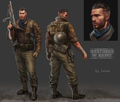 Lewis Wright ( Main Character for Brothers in Arms 3), Catalin Lartist on ArtStation at https://www.artstation.com/artwork/lewis-wright-main-character-for-brothers-in-arms-3