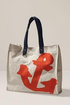nautical orange+navy anchor bag. need it. $49