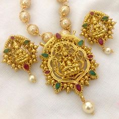 Elegant antique Lakshmi Pendant set with big earrings and long Mesh 8mm pearl chain (24 inches long) Code: PS 404 Price : Rps. 1450/- whatsap to 09581193795 for order processing