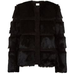 Sandro Muse Fur-Suede Panel Jacket (9,275 CNY) ❤ liked on Polyvore featuring outerwear, jackets, sandro, black suede jacket, sandro jacket, black fur jacket and suede fur jacket