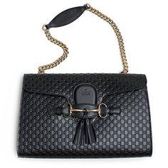 78a6cb7e5147 $1899 - Gucci Women's Micro GG Guccissima Leather Emily Purse Handbag  (Black) Black Leather