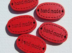 Wood Buttons  Oval Buttons  5 pieces  19x12mm  Red by HazalsBazaar, $2.00