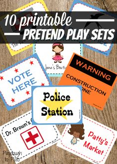 10 Printable Pretend Play Sets for Kids. Pretend police station, doctor's office, construction site, clothing boutique and more.