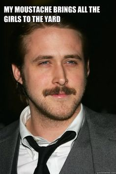 Ryan Gosling Moustache - my moustache brings all the girls to the yard