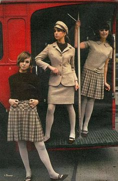 1960s fall skirts, suit and dress with tights and two tone flats