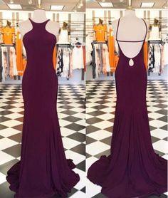 Halter Burgundy Prom Dress,Backless Long Prom Dress,Backless Prom Party Dress,Fitted Sexy Evening Dress,Long Prom Dresses