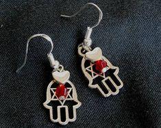 Valentine's Day gift, Silver Hamsa Earring, Small Hand Earrings, Red  Evil Eye, Star of David, Bohemian, Lucky Charm Earrings, Bat Mitzvah