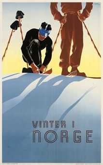 Vintage ski poster: Hiver en Norvege / Winter in Norway. From the annual Christie's Ski Auction 22 January 2015 Vintage Ski Posters, Retro Poster, Art Deco Posters, Vintage Ads, Nordic Skiing, Retro Illustration, Illustrations, Watermelon Illustration, Viajes