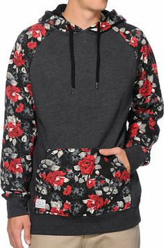 Empyre Panama Charcoal Floral Raglan Pullover Hoodie on Wanelo