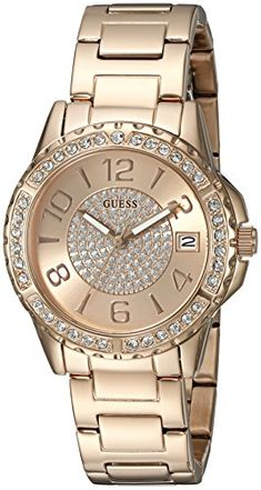 GUESS Womens U0779L3 Sporty Rose GoldTone Stainless Steel MultiFunction  Watch with Date Dial and Pilot Buckle 08bb21ca687