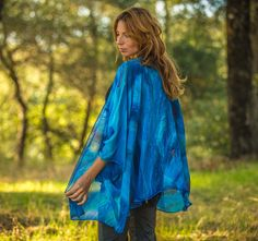 Hand painted blue silk jacket Blue silk  blue by SilkArtbyLiene, $186.00