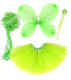 Tante Tina - Schmetterling Kostüm für Mädchen - 4-teiliges Set - Feenflügel / Schmetterlingsflügel Verkleiden - Grün mit Haarkranz