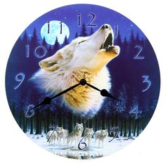 Decorative Howling Wolf Wall Clock
