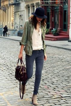Bag: jacket, shoes, nude, booties, fall outfits, khaki coat, leather bag, ankle boots, olive jacket, utility jacket, military style, faded, skinny, grey, grey, jeans, beige, boots, brown, streetstyle, summer, outfit, beige top, casual, chic, burgundy, pocket jacket - Wheretoget