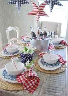 4th of July...Red, White, and Blue Table