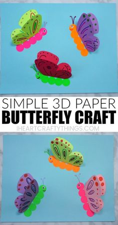 Learn how to make this simple paper butterfly craft. It's a simple and colorf. - Learn how to make this simple paper butterfly craft. It's a simple and colorful spring craft t - Paper Butterfly Crafts, Paper Butterflies, Butterfly Art, Paper Crafts, Diy Crafts, Butterfly Quotes, Butterfly Mobile, Butterfly Children, How To Make Butterfly