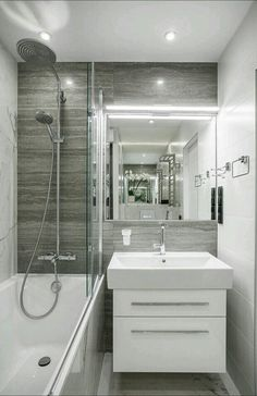 Do you have a tiny bathroom? Having a tiny space size is not a challenge to production. Below's the suggestion of a small bathroom with the most effective design and eye-catching designs. Diy Bathroom Remodel, Bathroom Renovations, Bathroom Interior, Bathroom Makeovers, Decorating Bathrooms, Tub Remodel, Bathroom Hacks, Bathroom Trends, Shower Remodel