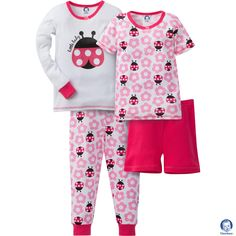 This adorable Gerber baby girl 4-piece pajama ladybug set comes with short/long sleeve pullover tops, pant and short. Perfect for your little girl! Available in sizes 12m-5T. #springfashion #gerberchildrenswear