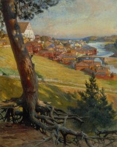 Albert Edelfelt - View of Porvoo from Nasinmaki 1892 Helene Schjerfbeck, Pastel Landscape, Landscape Art, Chur, Vincent Van Gogh, Scandinavian Paintings, Social Art, Painter Artist, Art Studies