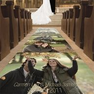 this is also a cute idea, to put pictures of the couple as the bride walks down the aisle!