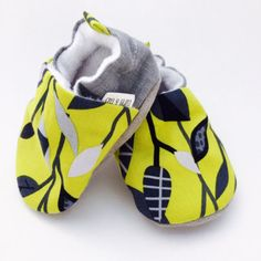 Buy Now Baby Shoes Chartreuse and Gray Floral Soft Soled Baby...