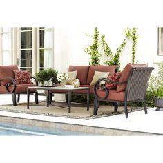 Delightful Allen + Roth 4 Piece Conversation Set (includes 2 Chairs, 1 Loveseat U0026