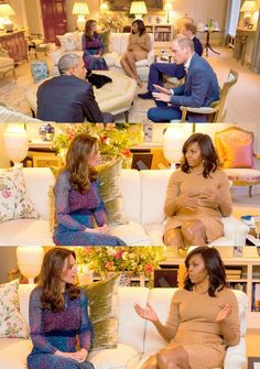 Prince William, Duke of Cambridge speaks with US President Barack Obama as Catherine, Duchess of Cambridge speaks with First Lady of the United States Michelle Obama and Prince Harry in the Drawing Room of Apartment 1A Kensington Palace as they attend a dinner on April 22, 2016 in London, England.