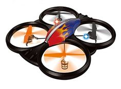 Haktoys® HAK909 Large 2.4GHz 4CH RC Quadcopter, 6 Axis Gyroscope, Rechargeable, Ready To Fly, Camera-Ready and with LED Lights - Colors May Vary