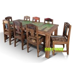 Recycled Boat Wood Dining Table With 8 Dining Chairs Dining Chairs, Dining Table, Reclaimed Wood Furniture, Outdoor Furniture Sets, Outdoor Decor, Teak, Home Accessories, Stool, Recycling