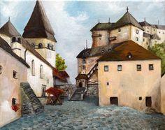 Oravsky Podzamok (Slovakia); the painting made with acrylic paints on a canvas.