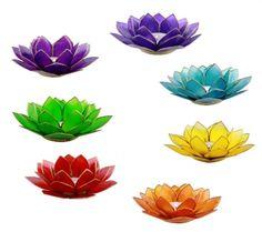 Lotus sfeerlichten chakra's met zilverrand - 13.5 cm - bestellen