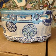 Damariscotta Pottery hand painted mail holder painted by Molly