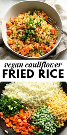 This healthy vegan cauliflower fried rice is so good so easy so healthy so filling! If youre craving fried rice this is the perfect healthy vegan alternative to the classic Asian dish. Healthy Recipes, Healthy Snacks, Healthy Eating, Healthy Fried Rice, Healthy Good Food, Vegetarian Recipes For Kids, Vegan Recipes Healthy Clean Eating, Vegan Recipes Easy Healthy, Healthy Dishes