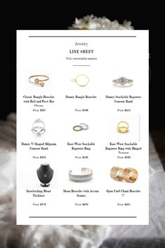 Organize all the necessary info about your jewelry products with this minimal line sheet template. You can quickly and easily add your logo, photos, product description, contact information, and many more. All Catalog Machine templates are fully customizable and absolutely free. You can also create both digital and PDF line sheets at the same time. Click the link to design your line sheet! Product Catalog, Way To Make Money, Line, Organize, Minimal, Pdf, Product Description, Templates, Marketing