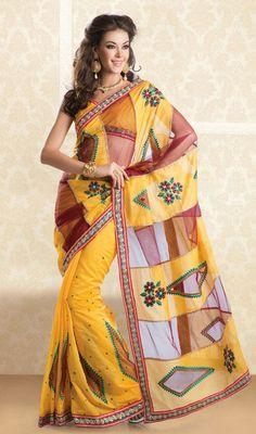 Yellow Shade Net and Cotton Sari Price: Usa Dollar $94, British UK Pound £55, Euro70, Canada CA$102 , Indian Rs5076.