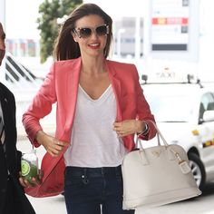 Miranda Kerr Has an Outfit For Just About Everything Coral Jacket, Coral Blazer, Miranda Kerr Street Style, Dresses Near Me, White Embroidered Dress, Look Blazer, Sunday Outfits, Leather Jacket Outfits, Outfit Trends