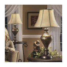 """Signature Design by Ashley Nitzana 33.25"""" H Table Lamp with Bell Shade"""