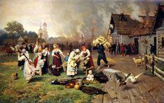 Dmitriev-Orenburgsky, Nikolai D (b,1838)- Fire in Village, 1885