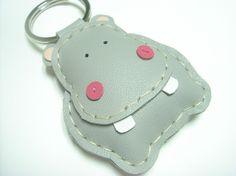 Hugo the Hippo Leather Keychain  Grey  by leatherprince on Etsy, $19.90
