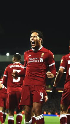 Virgil Van Dijk scored on his debut against Everton in the F. Liverpool Anfield, Liverpool Champions, Liverpool Players, Liverpool Football Club, Liverpool Fc Wallpaper, Liverpool Wallpapers, Messi Fans, Juergen Klopp, Premier League Soccer