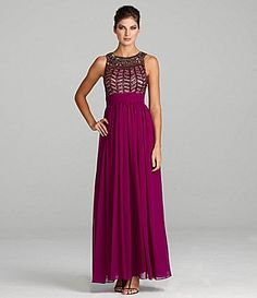 JS Collections BeadedNeck Gown #Dillards