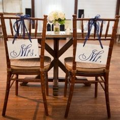 Check out all the wonderful details of this navy blue wedding including these cute signs for the sweetheart table!