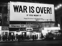 John and Yoko's billboard in Times Square, New York City, 1969.