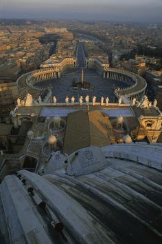 Piazza San Pietro as seen from the dome of Saint Peter's Basilica - Rome, Italy