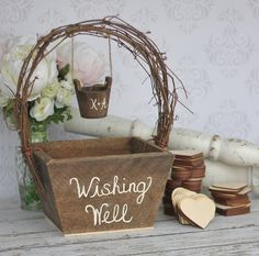 Wedding Guest Book Alternative Rustic Wedding Personalized Wishing Well. $99.00, via Etsy.