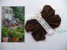 Shabby Schmetterling Vintage Nostalgie Spitze Perlen Landhaus Taufe Handarbeit