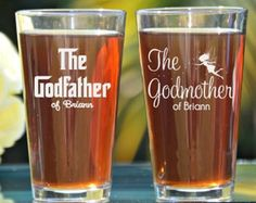 Godfather Pint Glass Godfather Gift Baptism by LifelongCreationsDS