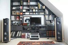 Nook audio system... well kinda. :-) Home Theater Installation, Audio Installation, Sound Room, Room Acoustics, Home Theater Speakers, Audio Room, Easy Listening, Hifi Audio, Home Cinemas