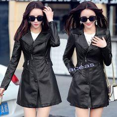 Women's Faux Leather Biker Slim Jackets Casual Coats Windbreaker Outerwear